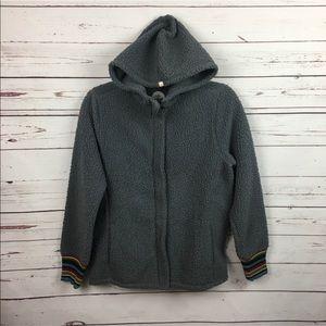 new life is good gray sherpa fleece jacket xs